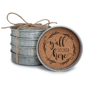 """Four piece mason jar lid coaster set with """"Y'all Spoken Here"""" painted on each. Approximately 4"""" in diameter."""
