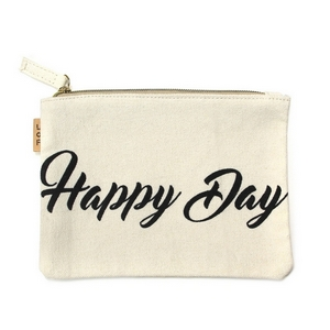 "Canvas zipper pouch with ""Happy Day"" on the front. 100% cotton. Measures 7"" x 6"" in size."