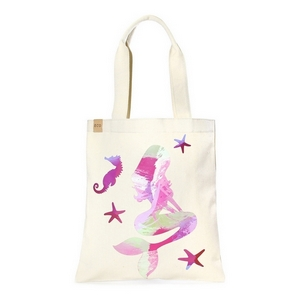 """Canvas tote bag with an inside pocket and a pink mermaid on the front. 100% cotton. Measures approximately 17"""" x 14"""" in size with an 11"""" handle drop."""
