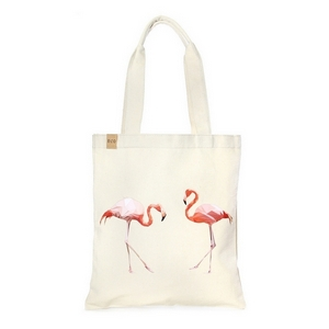 """Canvas tote bag with an inside pocket and peach flamingoes on the front. 100% cotton. Measures approximately 17"""" x 14"""" in size with an 11"""" handle drop."""