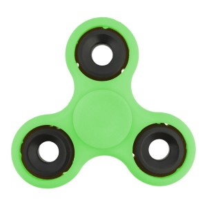 Lime green fidget spinner. Allows you to spin stress away, and can even help some people focus! Ceramic ball bearings allow for long spin times.
