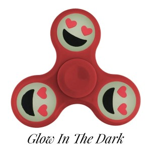 Red Glow in the Dark fidget spinner featuring a smiling face with heart shaped eyes emoji. Allows you to spin stress away, and can even help some people focus! Ceramic ball bearings allow for long spin times.