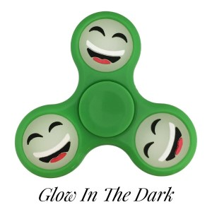 Green Glow in the Dark fidget spinner featuring a laughing smiley face emoji. Allows you to spin stress away, and can even help some people focus! Ceramic ball bearings allow for long spin times.