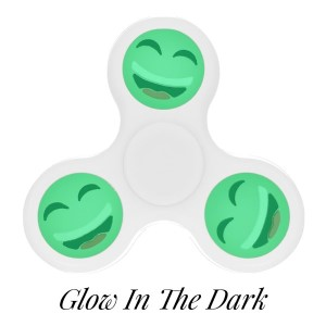 White Glow in the Dark fidget spinner featuring a laughing smiley face emoji. Allows you to spin stress away, and can even help some people focus! Ceramic ball bearings allow for long spin times.