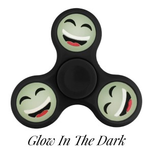 Black Glow in the Dark fidget spinner featuring a laughing smiley face emoji. Allows you to spin stress away, and can even help some people focus! Ceramic ball bearings allow for long spin times.