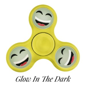 Yellow Glow in the Dark fidget spinner featuring a laughing smiley face emoji. Allows you to spin stress away, and can even help some people focus! Ceramic ball bearings allow for long spin times.