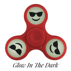Red Glow in the Dark fidget spinner featuring a smiley face emoji with shades. Allows you to spin stress away, and can even help some people focus! Ceramic ball bearings allow for long spin times.