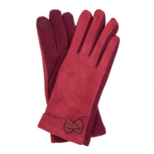 Burgundy faux suede 'smart gloves' with a bow accent.