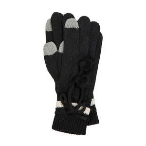 Black pair of knit gloves with a pom pom tie.