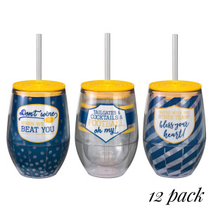 """Set of twelve, acrylic 12 ounce wine cups in your favorite team colors! These cups are BPA free, are double walled, and come with a straw. You will receive four cups in each of the three sayings - """"Don't wine when we beat you. Tailgates & cocktails & football, oh my! You're with the other team? Bless your heart!"""""""