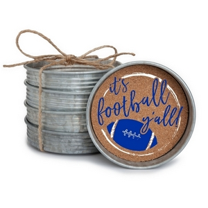 "Set of four, mason jar coasters printed with ""It's football y'all"" with your favorite team colors. Each coaster measures 4"" in diameter."