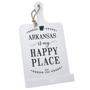 """""""My Happy Place"""" wooden recipe stand that can be used to hold a cookbook or tablet, or be hung on the wall. Measures 14"""" x 8"""" in size."""