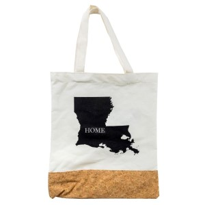"Canvas and cork tote bag printed with your ""Home"" state. Measures 16"" x 14"" in size with an 8"" handle drop."