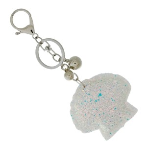 "Glitter, seashell keychain. Approximately 3"" in size."