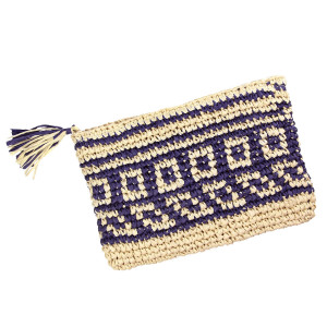 "Woven straw pouch with a top zipper and a lined inside. Measures 11"" x 8"" in size."