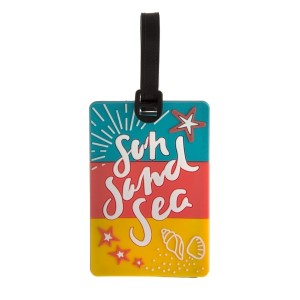 "Rubber luggage tag with ""Sun, Sand, Sea"" and a name and address card on the back"