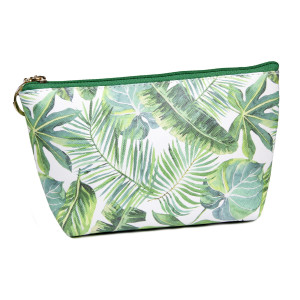 """Faux leather pouch with top zipper closure and a lined inside. 100% PU leather. Measures 9"""" x 6"""" in size."""