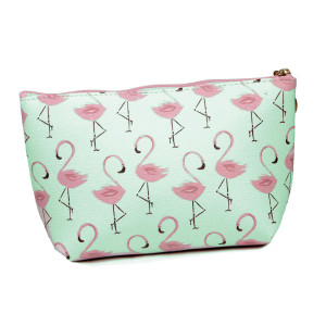 "Faux leather pouch with top zipper closure and a lined inside. 100% PU leather. Measures 9"" x 6"" in size."