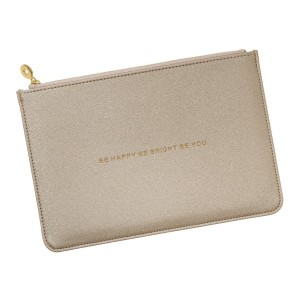 """Faux leather pouch with an encouraging message stamped in gold. Measures 9"""" x 6"""""""