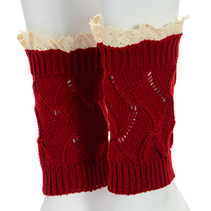 "Red crochet boot toppers featuring an ivory lace rimmed top. Approximately 8"" in length."