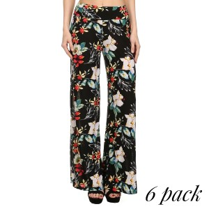 Multicolored floral print palazzo pants. Polyester spandex blend. Sold in packs of six. Three S/M and three L/XL.