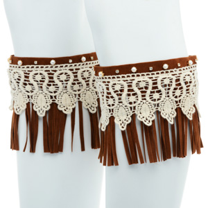 Brown faux suede boot toppers with fringe and ivory lace.