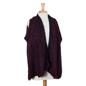 Red and navy eyelash kimono vest. 100% Acrylic. One size fits most.