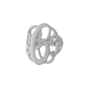 "Silver tone stretch ring featuring the initial ""C""."