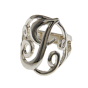"Silver tone stretch ring featuring the initial ""J""."