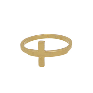 Gold tone knuckle ring with a cross decor. Not adjustable.