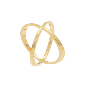 Gold tone open metal criss-cross knuckle ring