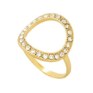 Gold tone knuckle ring featuring a round shape open cut with pave stones.  Not adjustable.