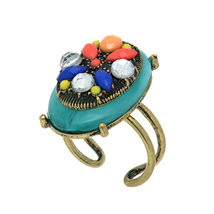 Burnished gold tone adjustable ring featuring a turquoise stone with clear, blue, coral, peach, and yellow stone decor.