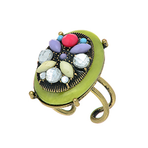 Burnished gold tone adjustable ring featuring a lime stone with clear, ivory, pink, purple, and blue stone decor.