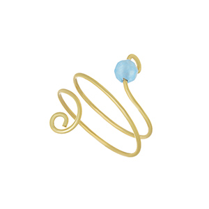 Gold tone knuckle ring featuring a blue bead on a spiral. One size fits most.
