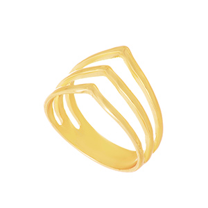 Gold tone ring featuring a chevron pattern. One size only. Size 7.