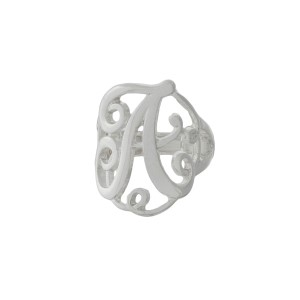 Silver tone stretch ring with the initial A.