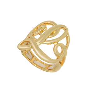"Gold tone ring featuring the initial ""L""."