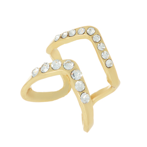 Gold tone adjustable knuckle ring with a rhinestone chevron design.