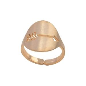 Gold tone adjustable ring featuring a cutout arrow.