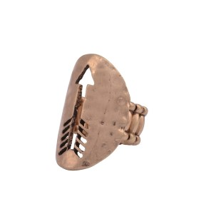 Burnished gold tone stretch ring featuring a disk with a cutout arrow.