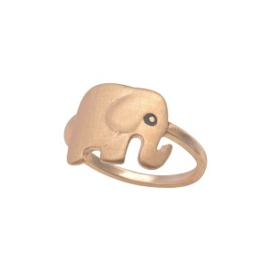 Gold tone knuckle ring featuring an elephant.