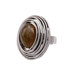 Silver tone adjustable ring featuring a wrapped wire with a brown stone focal.