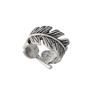 Burnished silver tone wrapped feather ring. Size 7 only.
