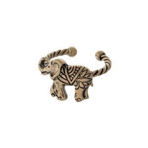 Gold tone twisted metal adjustable ring displaying an elephant.
