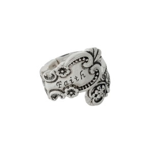 """Silver tone spoon stretch ring stamped with """"Faith."""""""