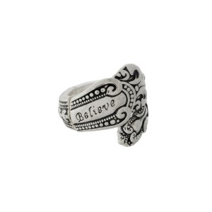 """Silver tone spoon stretch ring stamped with """"Believe."""""""