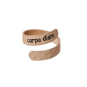 "Hammered copper tone, adjustable ring stamped with ""Carpe Diem."""