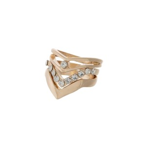 Gold tone three piece ring set with clear rhinestones and a 'v' shape. One size - size 7.