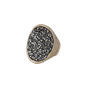 Hammered gold tone stretch ring with hematite stones.